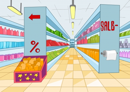 Supermarket Cartoon Vector