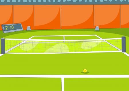 deportes caricatura: Pista de tenis
