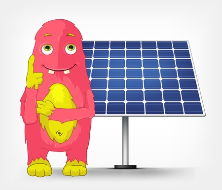 Funny Monster  Thinking about Solar Energy Stock Vector - 16605125