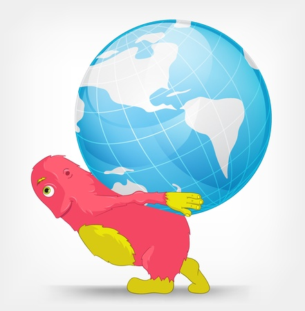 Funny Monster  Globe  Stock Vector - 16605145