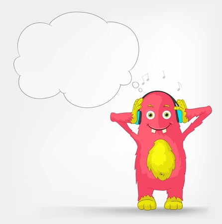Funny Monster  Listening to Music