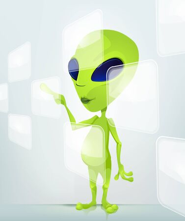 touch screen hand: Funny Alien