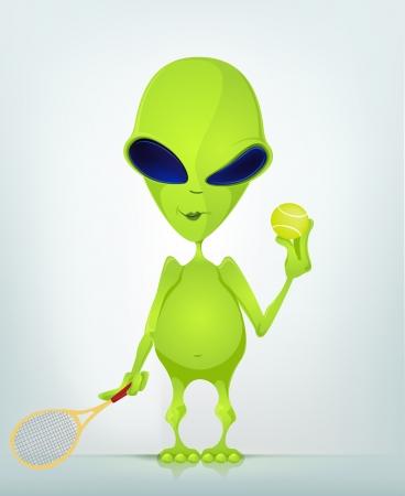 tennis racquet: Cartoon Character ALIEN