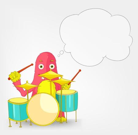 Funny Monster  Drummer Stock Vector - 16918921