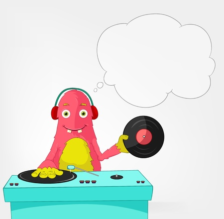 Funny Monster  DJ  Illustration