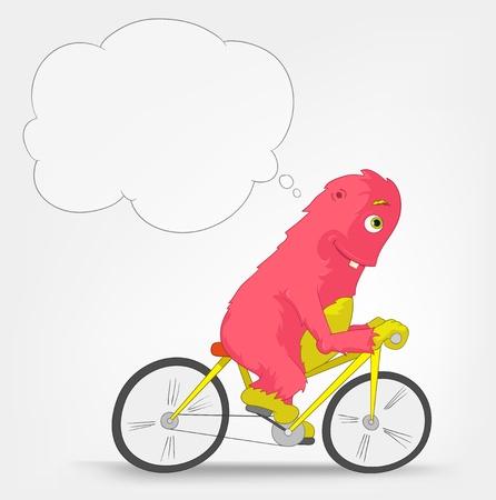 bicycler: Funny Monster  Biker  Illustration