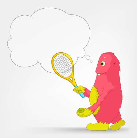 Funny Monster  Tennis  Vector