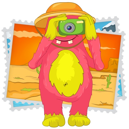 Funny Monster  Tourist Photographer Stock Vector - 17207650