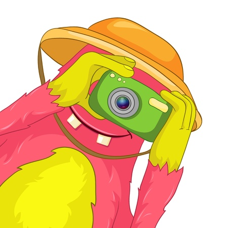 Funny Monster  Tourist Photographer  Vector