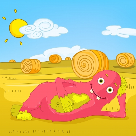 hay bales: Funny Monster