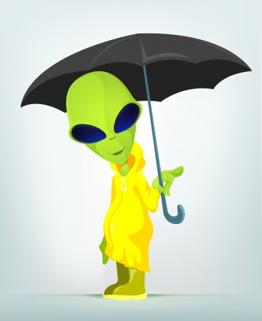 cartoon umbrella: Funny Alien
