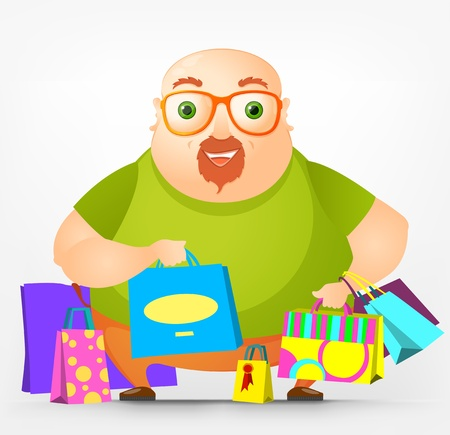 Cheerful Chubby Man Stock Vector - 17546389