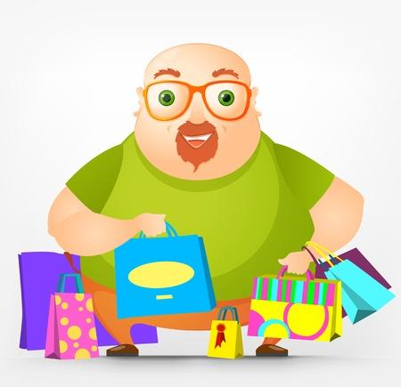 Cheerful Chubby Man Stock Vector - 17546389