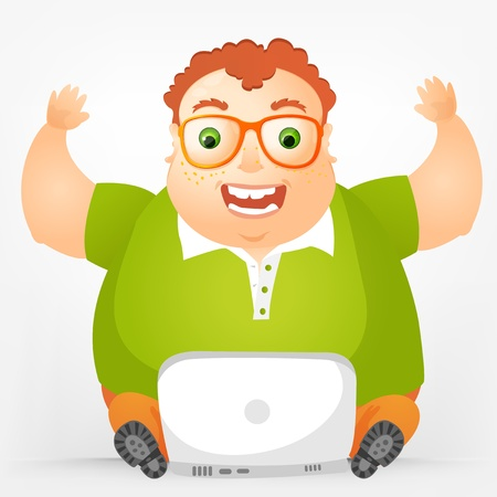 Cheerful Chubby Man Stock Vector - 17546392
