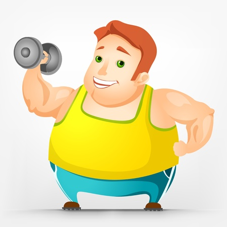 hombre levantando pesas: El hombre rechoncho Alegre Vectores