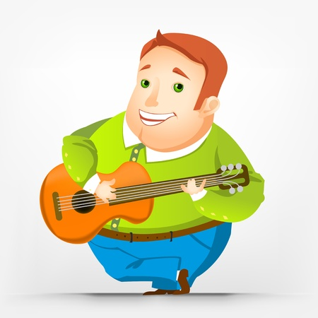 Cheerful Chubby Man Stock Vector - 17546404