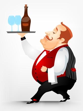 serviteurs: Cheerful hommes Chubby Illustration