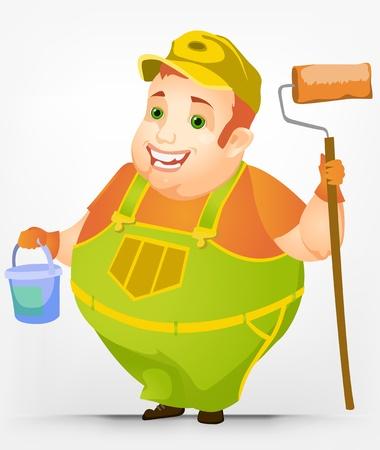 Cheerful Chubby Men Vector