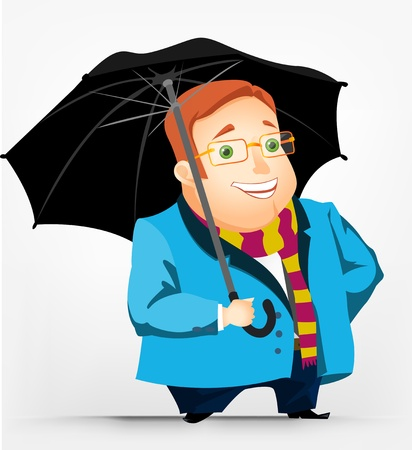 cartoon umbrella: Cheerful Chubby Men