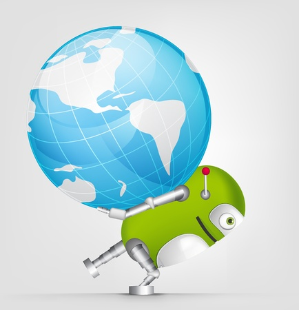 lifting globe: Green Robot