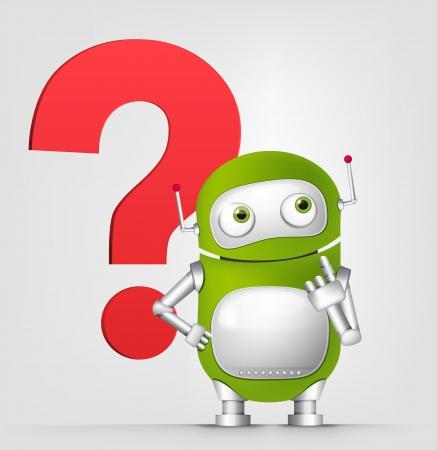 생각에 잠겨있는: 녹색 로봇