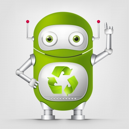 robot cartoon: Green Robot