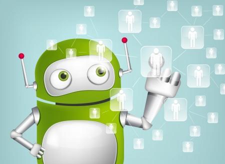 hand touch: Green Robot