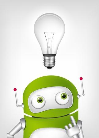Cartoon Character Green Robot. Concept Illustration.