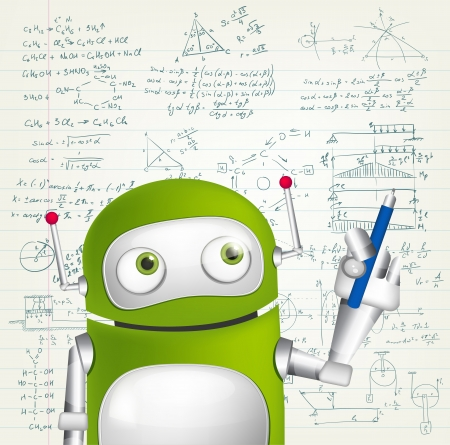 signing papers: Cartoon Character Green Robot. Concept Illustration.  Illustration