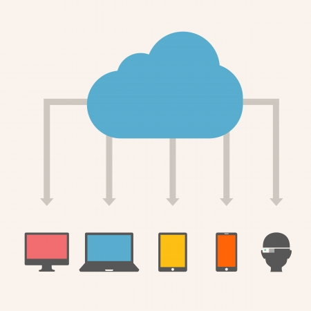 wireless communication: Cloud Service Illustration