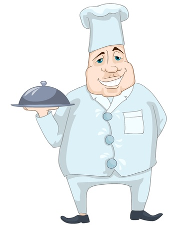 Cartoon Character Cheerful Chubby Men. Chef.