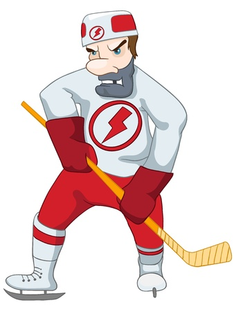 Hockey Player Isolated on White Background. Vector