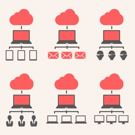 using tablet: Cloud Service Isolated on Grey Gradient Background.  Illustration