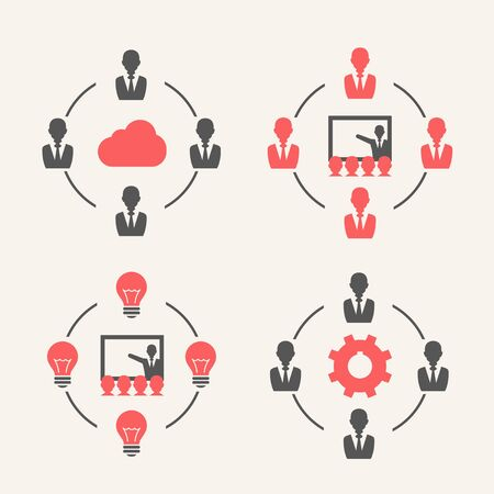 parley: Combinaciones de negocios. Web y conjunto del icono Soft.