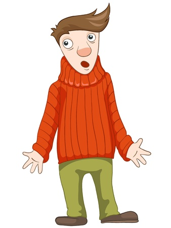 Cartoon Character Cute Teenager Isolated on White Background. Student.  Stock Photo - 20628587
