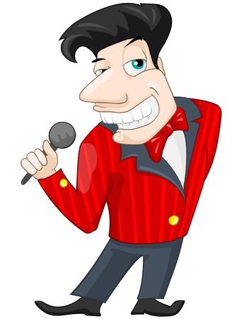 personas cantando: Personaje de dibujos animados Adolescente lindo aislado en el fondo blanco. Cantando. Foto de archivo