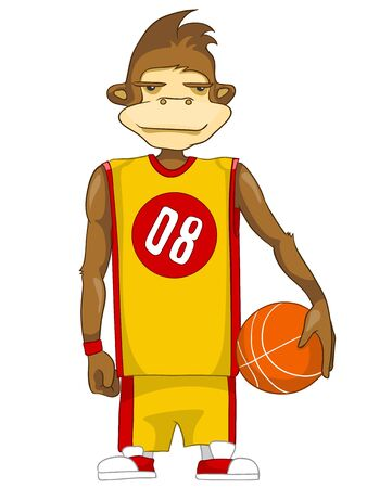 Cartoon Character Cute Teenager Isolated on White Background. Basketball. Stock Photo - 20633710