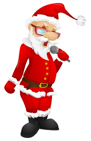 singer with microphone: Santa Claus Illustration