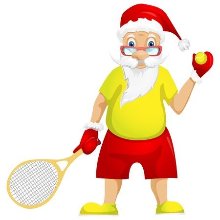 tennis player: Santa Claus Illustration
