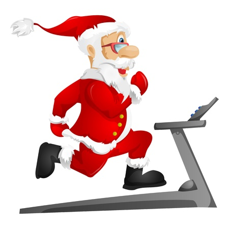 senior exercise: Santa Claus Stock Photo