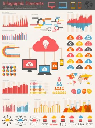Cloud Service Elementi Infographic Archivio Fotografico