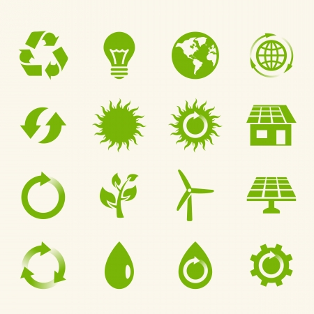solar panel house: Eco Icon Set.  Illustration