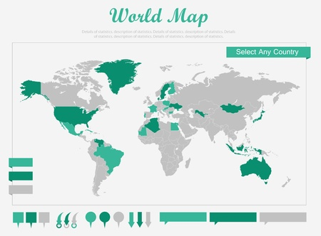Les éléments infographiques. Possibilité de mettre en évidence les Pays