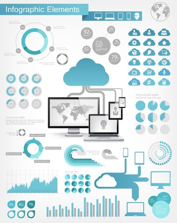 cloud: Cloud Service Infographic Elements. Opportunity to Highlight any Country Illustration
