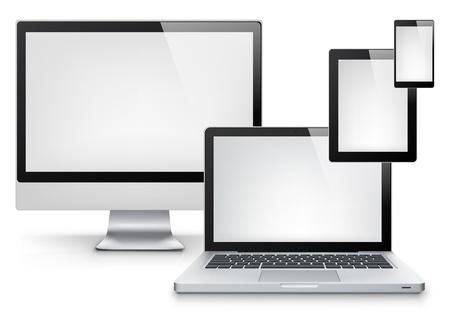Computers Isolated on White Background Stock Vector - 21822807