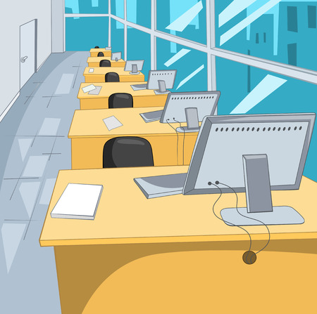 computer mouse: Office Place. Cartoon Background. Vector Illustration EPS 10. Stock Photo