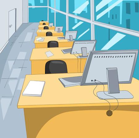 computadora caricatura: Oficina Place. Fondo de dibujos animados. Ilustración del vector EPS 10.