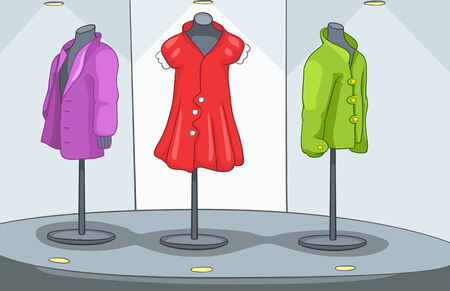 boutique display: Shop Window with Mannequin. Vector Cartoon Background. Stock Photo