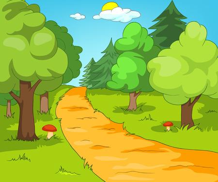 Forest Glade. Cartoon Background. Vector Illustration EPS 10.