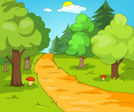 glade: Forest Glade. Cartoon Background. Vector Illustration EPS 10.